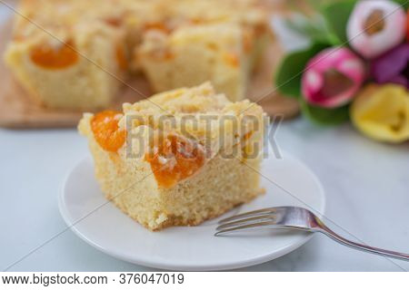 Home Made German Apricot Streusel Cake On A Table