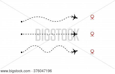 Set Of Airplane Path To Location Pin. Flight Tourism Route Path. Vector On Isolated White Background