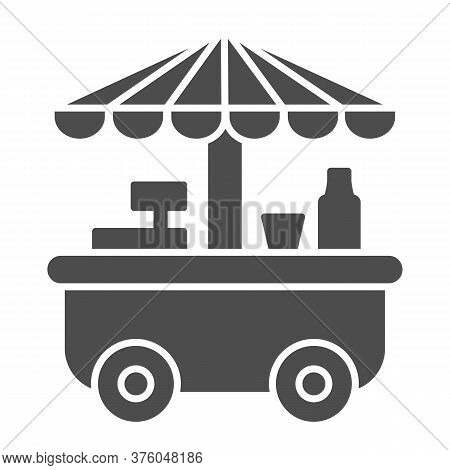 Street Stall On Wheels Solid Icon, Market Concept, Street Sale Cart Sign On White Background, Fast S