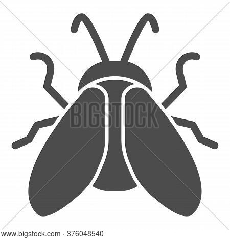 Midge Solid Icon, Insects Concept, Fly Sign On White Background, Midge Icon In Glyph Style For Mobil