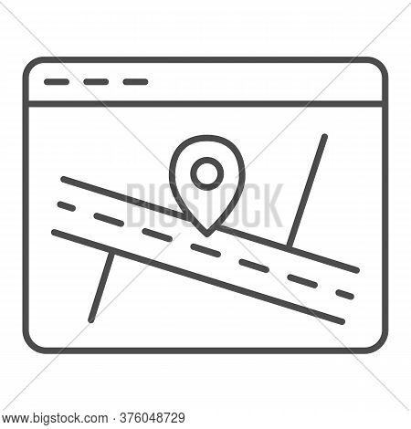 Web Page With Map And Location Pin Thin Line Icon, Navigation Concept, Map Marker Pointer With Road
