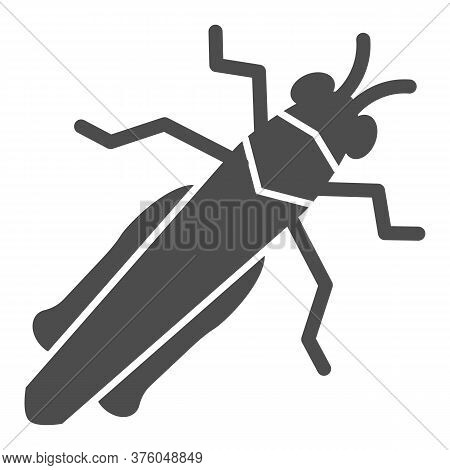 Grasshopper Solid Icon, Insects Concept, Locust Sign On White Background, Cricket Icon In Glyph Styl
