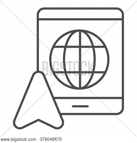 Tablet With Globe And Navigation Pointer Thin Line Icon, Navigation Concept, Gps Navigator Sign On W