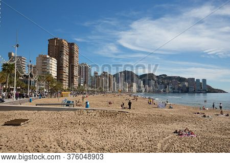 Benidorm, Spain-february 2nd 2020: Beautiful Winter Weather Attracted Visitors And Holidaymakers To