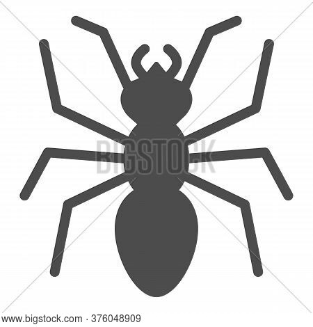 Ant Solid Icon, Insects Concept, Emmet Sign On White Background, Ant Silhouette Icon In Glyph Style