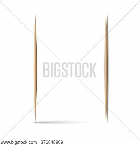 Two Toothpicks Vertical 3d Realistic Vector Illustration Vertical And Horizontal Position