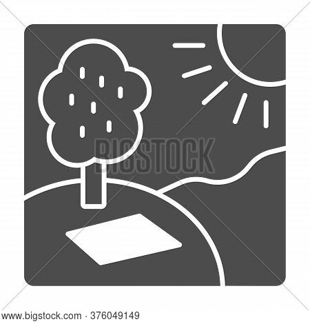 Picnic In Nature In Sunny Day Solid Icon, Summer Time Concept, Sunny Day In Park Sign On White Backg