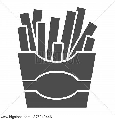 French Fries Solid Icon, Junk Food Concept, Potatoes Fries In Paper Bag Sign On White Background, Fr