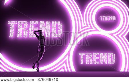 Woman Backlight Silhouette. Neon Shine Text. Fashion Tags Cloud. 3d Rendering