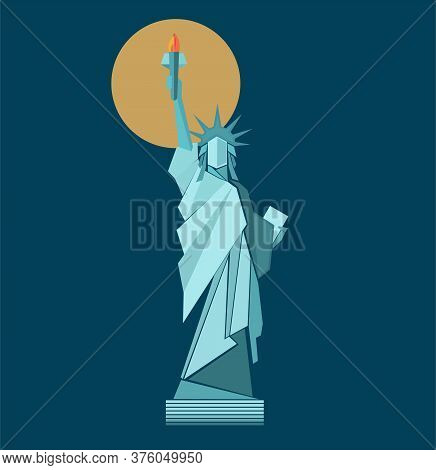 The Statue Of Liberty Vector Drawing On A Blue Background