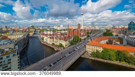 Berlin, Germany viewed from above the Spree River in the daytime.