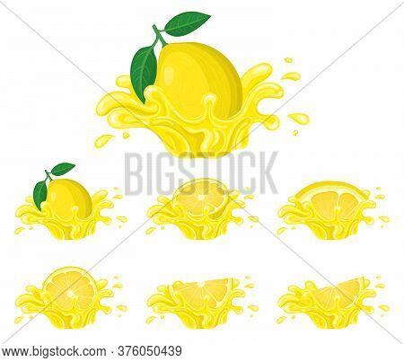 Set Of Fresh Bright Lemon Juice Splash Burst Isolated On White Background. Summer Fruit Juice. Carto