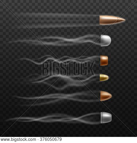 Realistic Flying Bullet Set With Different Trace Trails On Dark Background.