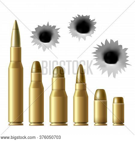 Realistic Metal Bullet And Gunshot Hole Set Isolated On White Background