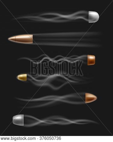 Bullet Shot With Fire Smoke Trail Flying In Fast Motion - Realistic Isolated Set