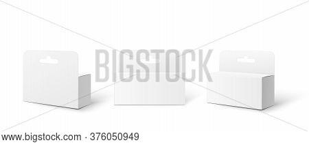White Cardboard Box Pack Set With Hang Tab - Realistic Mockup Set
