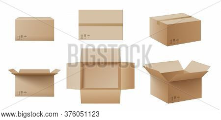 Realistic Cardboard Box Mockup Set From Side, Front And Top View