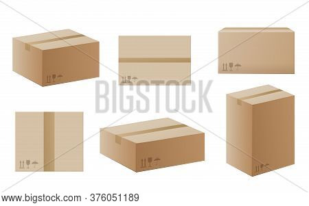 Set Of Delivery Or Mail Boxes, Realistic Vector Mockup Illustration Isolated.