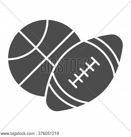 Basketball And Soccer Ball Solid Icon, Sports Concept, Sport Balls Sign On White Background, Basketb