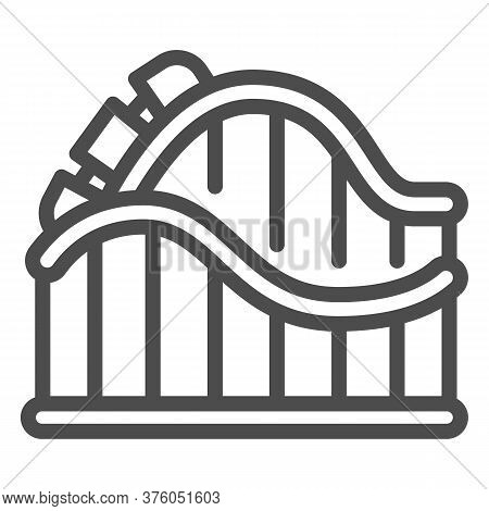 Roller Coaster Ride Line Icon, Amusement Park Concept, Amusement Ride Sign On White Background, Roll