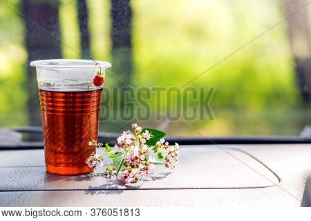 Plastic Cup Of Tea With A Berry And A Sprig Of Oregano On The Car Panel.