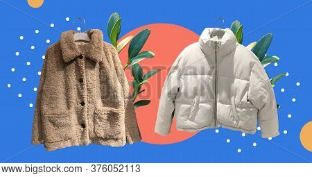 Women Fashion Down Jacket And Brown Women Faux Shearling Coat With Fresh Plants Isolated On Abstract