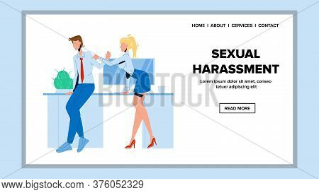 Sexual Harassment Employer To Colleague Vector Illustration