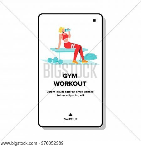 Gym Workout With Fit Sportive Equipment Vector