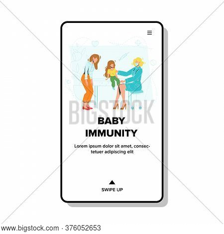 Baby Immunity Examining Doctor In Clinic Vector