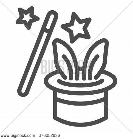 Focus With Rabbit Line Icon, Children Entertainment Concept, Magic Trick Sign On White Background, R