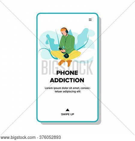 Phone Addiction Boy Sitting With Cellphone Vector