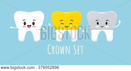Cute Tooth With Dental Crown Emoji Character Set. Ceramic, Porcelain Fudes To Metal, Metal Gold Dent