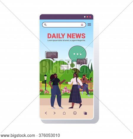 Girls Discussing Daily News During Meeting In Park Chat Bubble Communication Concept Women Walking O