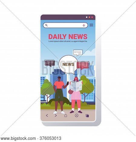 Man Woman Reading Newspaper Discussing Daily News During Meeting In Park Chat Bubble Communication C