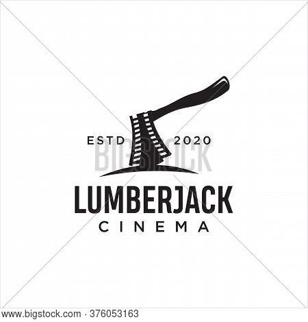 Lumberjack Movie Reel Logo Design. Black Axe Cinema,film Production Logo Template. Hatchet Cinematog