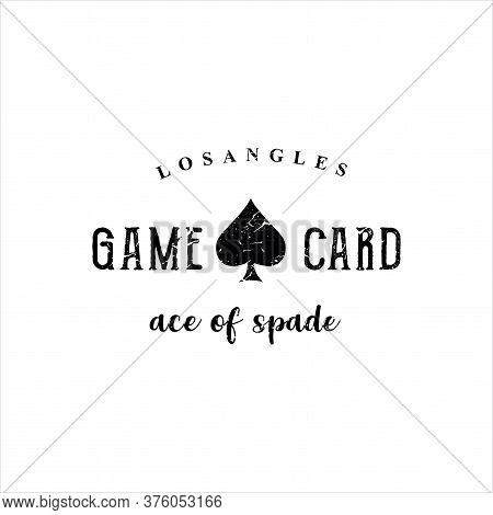 Playing Card Game Logo Design Template. Ace Of Spades Logo Grunge Hipster Retro. Spade Logo Vector S