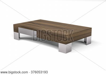 Low Wooden Coffee Table With Metal Legs Isolated On White Background - 3d Render