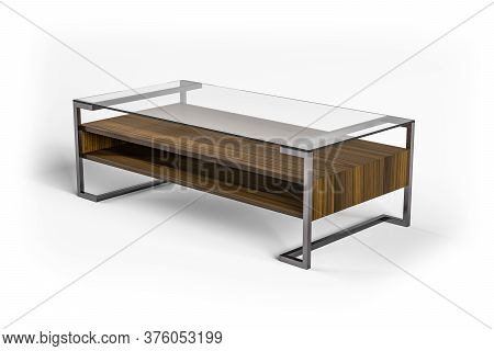 Coffee Table With Glass Top, Wooden Shelf And Metal Legs Isolated On White Background - 3d Render