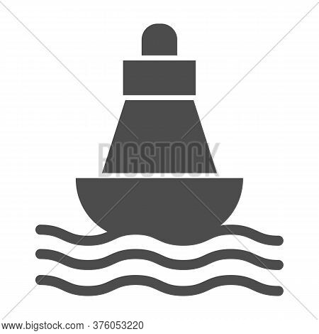 Buoy Solid Icon, Nautical Concept, Sea Buoy Floating On Waves Sign On White Background, Nautical Dir