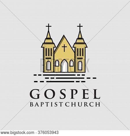 Gospel Baptist Church Logo Icon Design. Living Gospel Church Logo Design Vintage Hipter Retro Templa