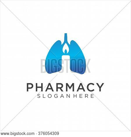 Candle With Lung Logo Design Healthy. Lung Cancer Logo Isolated On White Background. A Breath Of Hop