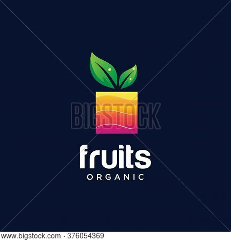 Abstract Fruit Logo Design Nature Organic. Square Fruit Logo Colorful Design Template. Modernfresh F