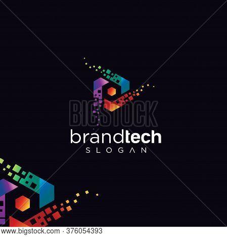 Hexagon Tech Logo Design Vector Stock. Digital Box Cube Tech Logo Design Colorful Template