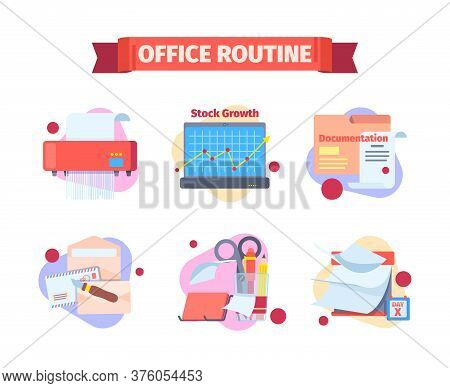 Office Work Routine Set. Moments Working Schedule Destruction Papers By Shredder Checking Infographi