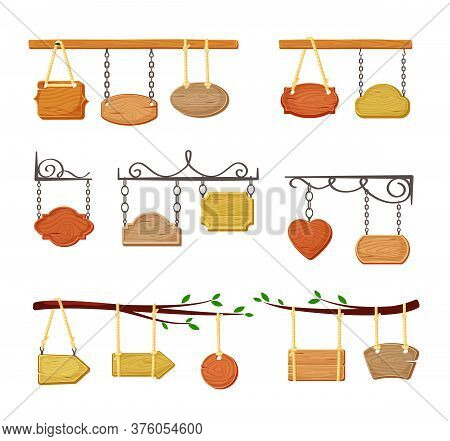 Hanging Wooden Signboards Banners Set. Empty Color Templates Suspended Openwork Chains And Ropes Ret