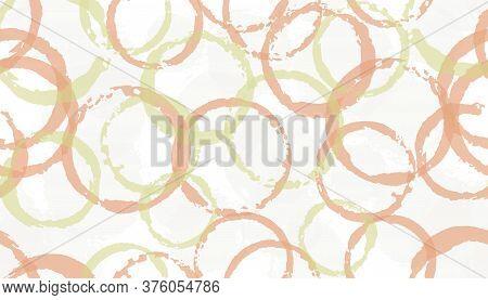 Grunge Hand Drawn Circles Geometry Fabric Print. Circular Splotch Overlapping Elements Vector Seamle