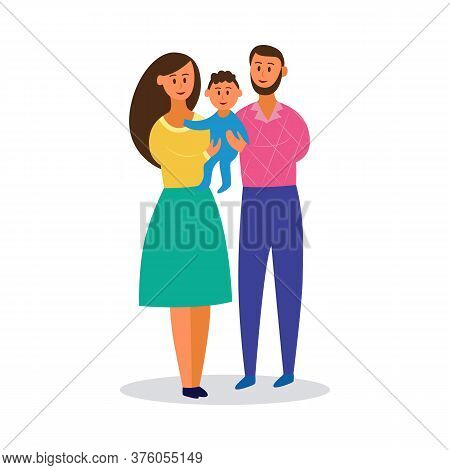 Happy Young Family Holding Little Baby - Cartoon Parents Smiling With Toddler Boy.