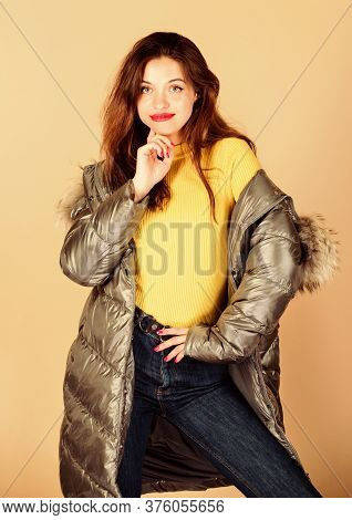 Favorite Sweater. Beauty In Winter Clothing. Cold Season Shopping. Woman In Padded Warm Coat. Girl I