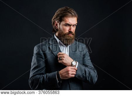 Menswear Clothes. Stylish Successful Man In Suit Posing. Business Man Wear Suit. Official Office Lif