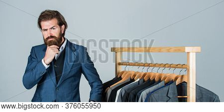 Designs Are In Demand. Male Beauty And Fashion. Bearded Man Tailoring Clothes. Formal And Office War